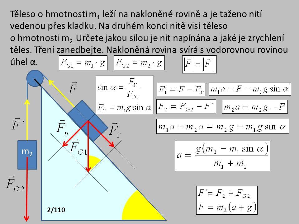 Těleso o hmotnosti m 1 leží na nakloněné rovině a je taženo nití vedenou přes kladku. Na druhém konci nitě visí těleso o hmotnosti m 2. Určete jakou s