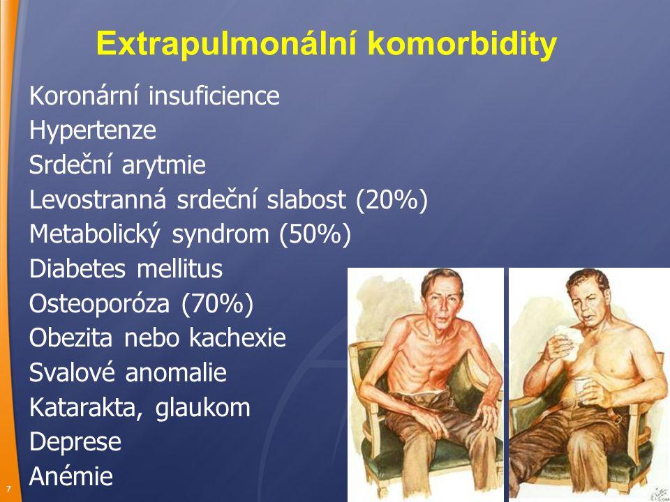 7 Extrapulmonální komorbidity Koronární insuficience Hypertenze Srdeční arytmie Levostranná srdeční slabost (20%) Metabolický syndrom (50%) Diabetes mellitus Osteoporóza (70%) Obezita nebo kachexie Svalové anomalie Katarakta, glaukom Deprese Anémie