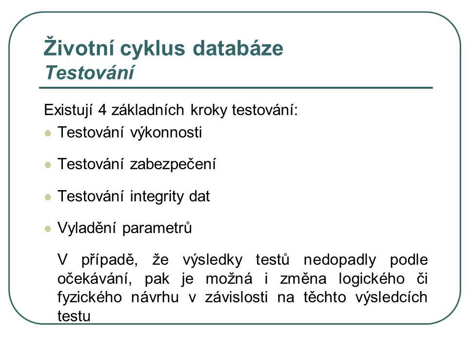 Životní cyklus databáze Testování Existují 4 základních kroky testování: Testování výkonnosti Testování zabezpečení Testování integrity dat Vyladění p