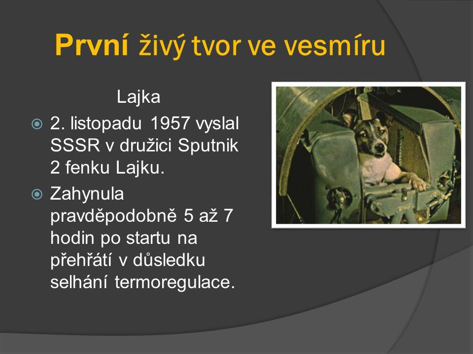 První živý tvor ve vesmíru Lajka  2. listopadu 1957 vyslal SSSR v družici Sputnik 2 fenku Lajku.  Zahynula pravděpodobně 5 až 7 hodin po startu na p