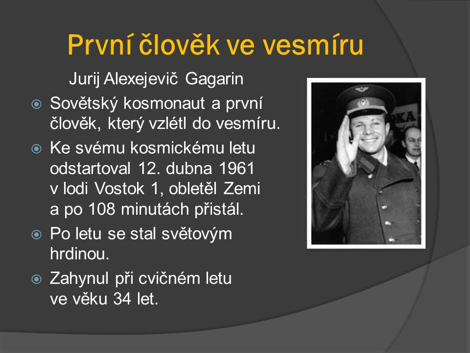 První člověk ve vesmíru Jurij Alexejevič Gagarin  Sovětský kosmonaut a první člověk, který vzlétl do vesmíru.  Ke svému kosmickému letu odstartoval