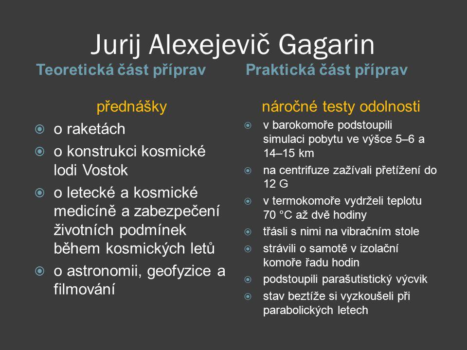 Jurij Alexejevič Gagarin Teoretická část přípravPraktická část příprav přednášky  o raketách  o konstrukci kosmické lodi Vostok  o letecké a kosmic
