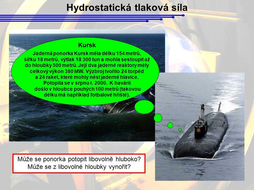 Hydrostatická tlaková síla Může se ponorka potopit libovolně hluboko? Může se z libovolné hloubky vynořit? Kursk Jaderná ponorka Kursk měla délku 154