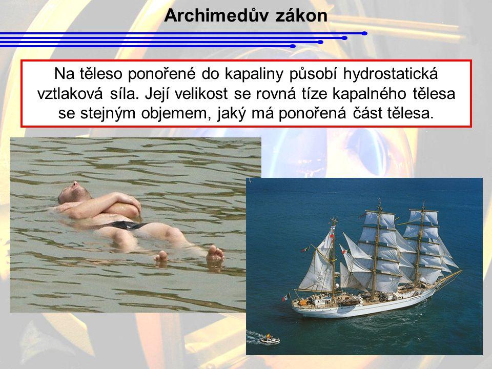 Archimedův zákon Na těleso ponořené do kapaliny působí hydrostatická vztlaková síla. Její velikost se rovná tíze kapalného tělesa se stejným objemem,