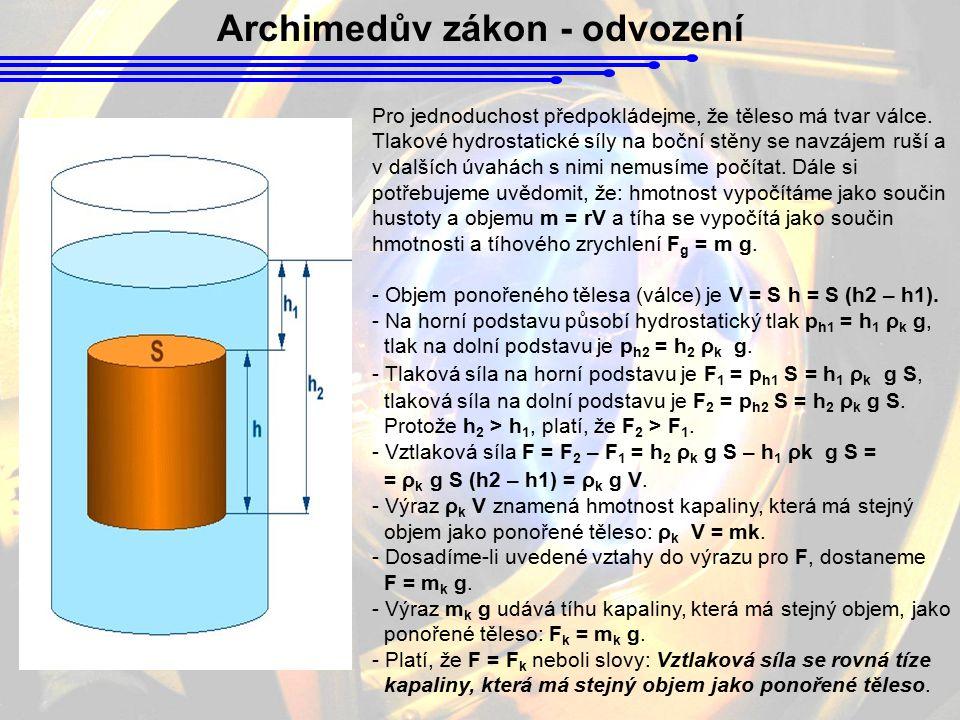 Archimedův zákon - odvození Pro jednoduchost předpokládejme, že těleso má tvar válce. Tlakové hydrostatické síly na boční stěny se navzájem ruší a v d