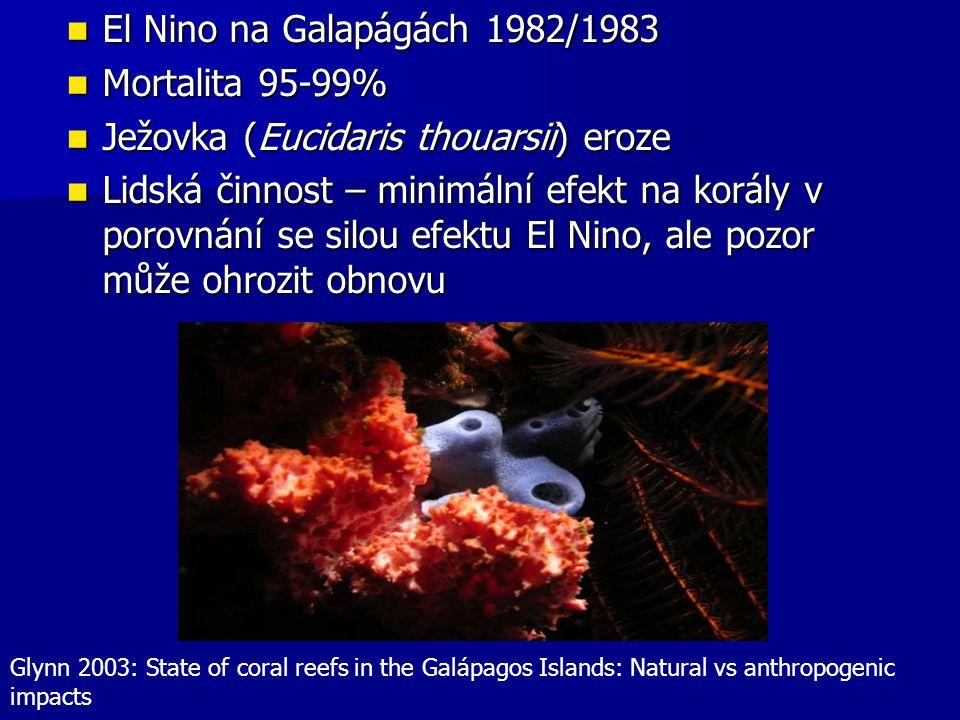 El Nino na Galapágách 1982/1983 El Nino na Galapágách 1982/1983 Mortalita 95-99% Mortalita 95-99% Ježovka (Eucidaris thouarsii) eroze Ježovka (Eucidar