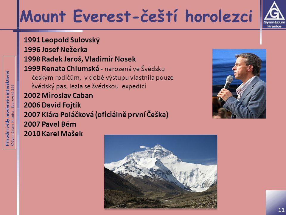 Přírodní vědy moderně a interaktivně ©Gymnázium Hranice, Zborovská 293 Mount Everest-čeští horolezci 1991 Leopold Sulovský 1996 Josef Nežerka 1998 Rad