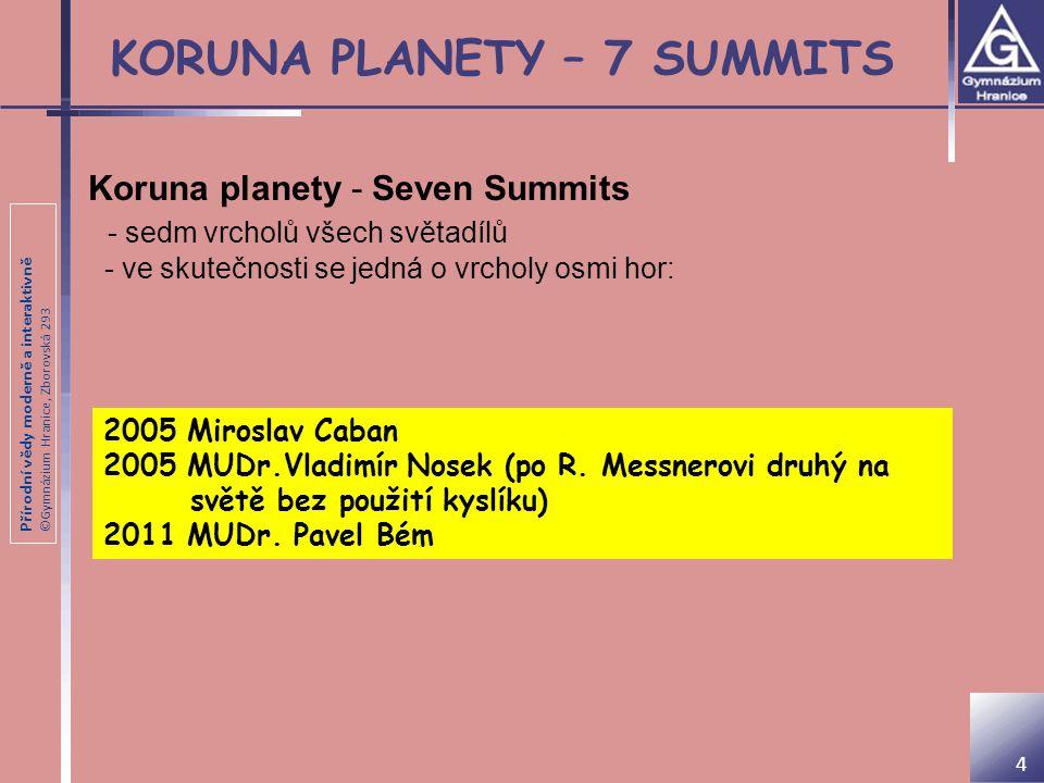 Přírodní vědy moderně a interaktivně ©Gymnázium Hranice, Zborovská 293 Radek Jaroš Chci zdolat všechny vrcholy, které mají nad osm tisíc metrů N ejúspěšnější český horolezec současné doby 12 ze 14 osmitisícovek Úspěšné výstupy na osmitisícovky Mount Everest 8 848 m Kančendženga 8 586 m Broad Peak 8 047 m Čo-Oju 8 201 m Šiša Pangma 8 046 m Nanga Parbat 8 125 m Dhaulagiri, 8 167 m Makalu 8 463 m Manáslu 8 162 m Gašerbrum II 8 035 m Gašerbrum I 8 068 m Lhotse 8 516 m 15 6