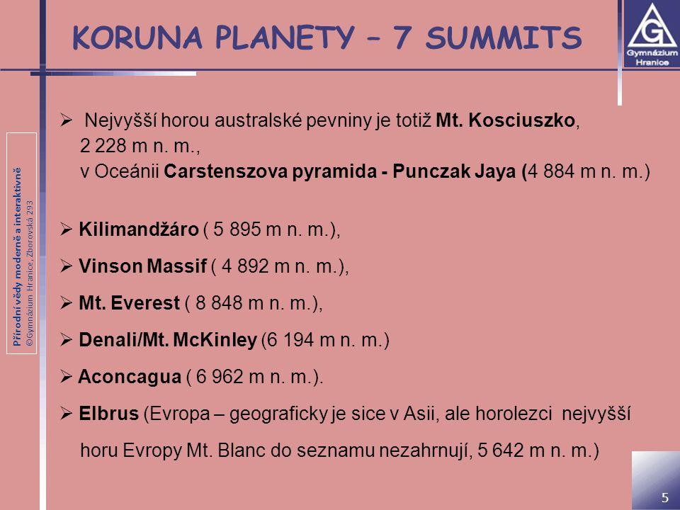 Přírodní vědy moderně a interaktivně ©Gymnázium Hranice, Zborovská 293 KORUNA PLANETY – 7 SUMMITS  Nejvyšší horou australské pevniny je totiž Mt. Kos