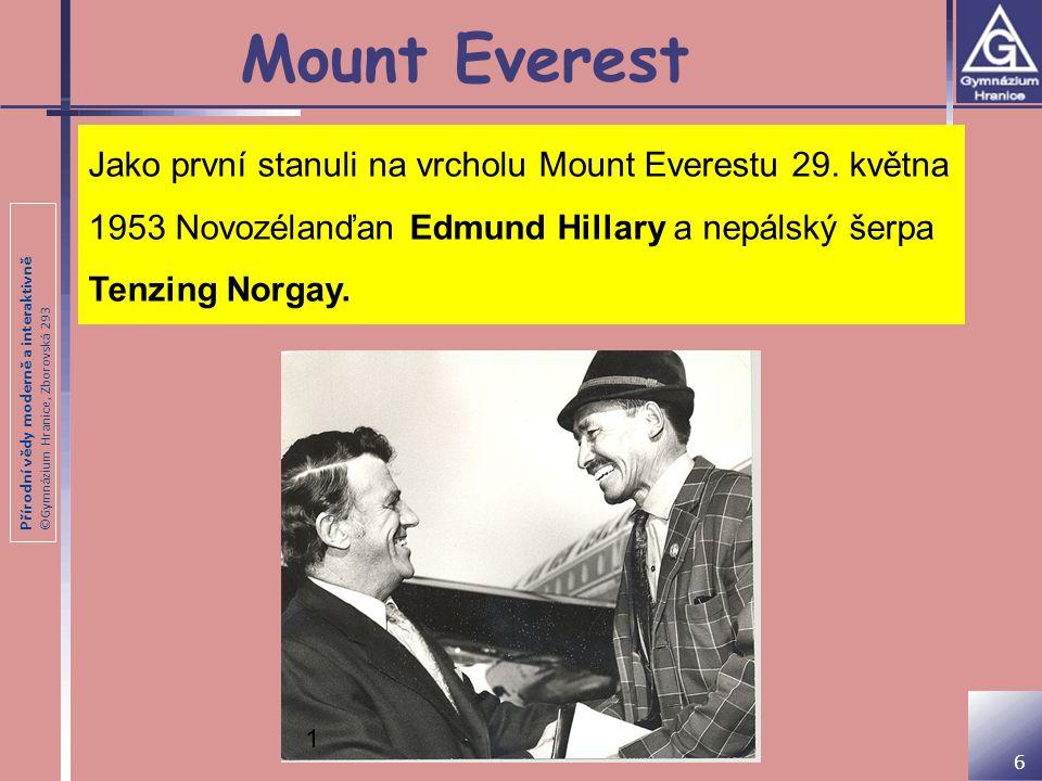 Přírodní vědy moderně a interaktivně ©Gymnázium Hranice, Zborovská 293 Mount Everest Jako první stanuli na vrcholu Mount Everestu 29. května 1953 Novo