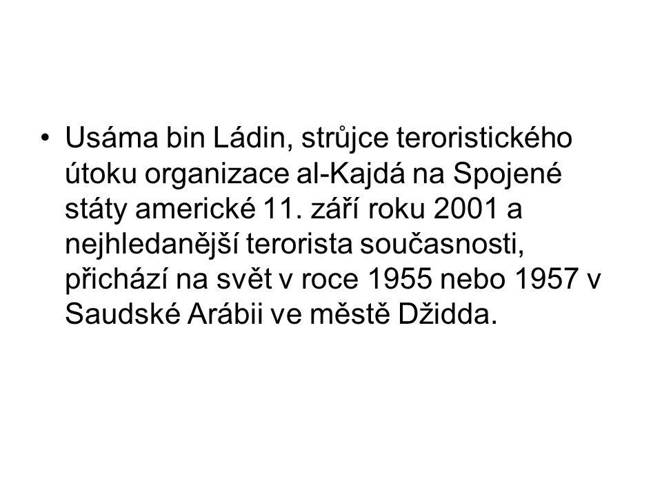 Usáma bin Ládin, strůjce teroristického útoku organizace al-Kajdá na Spojené státy americké 11. září roku 2001 a nejhledanější terorista současnosti,