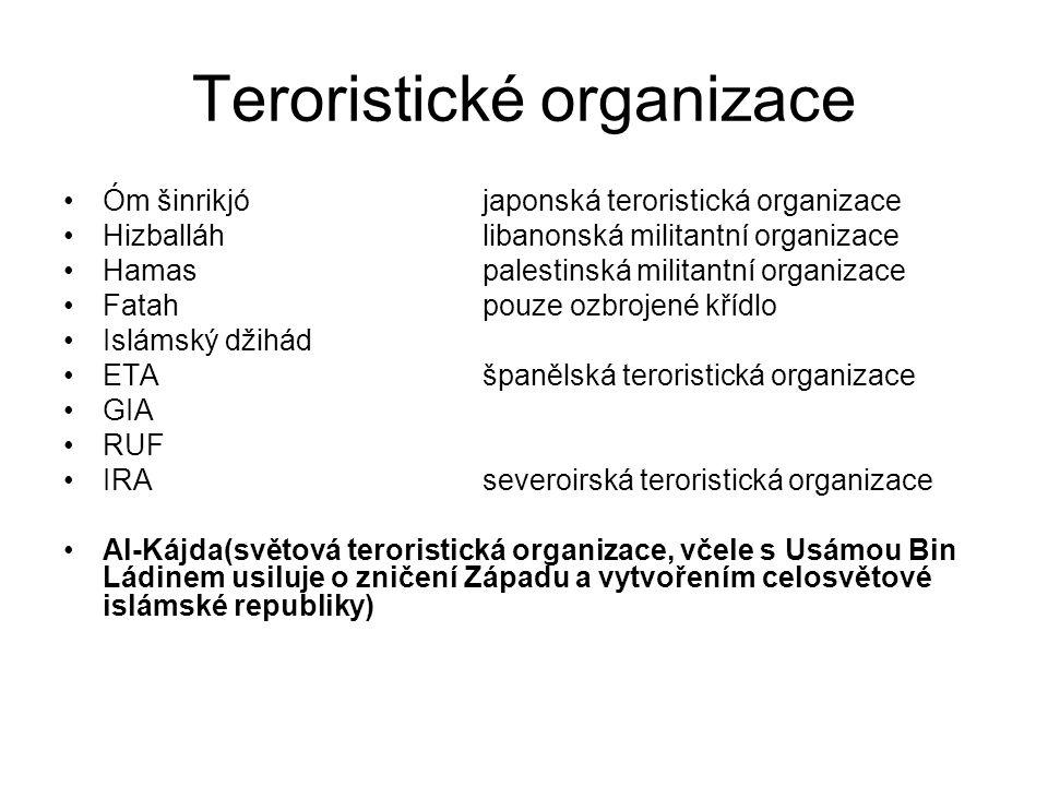 Teroristické organizace Óm šinrikjójaponská teroristická organizace Hizballáhlibanonská militantní organizace Hamaspalestinská militantní organizace F