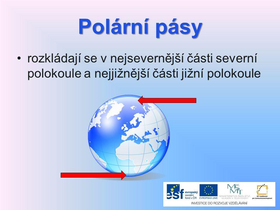Polární pásy rozkládají se v nejsevernější části severní polokoule a nejjižnější části jižní polokoule