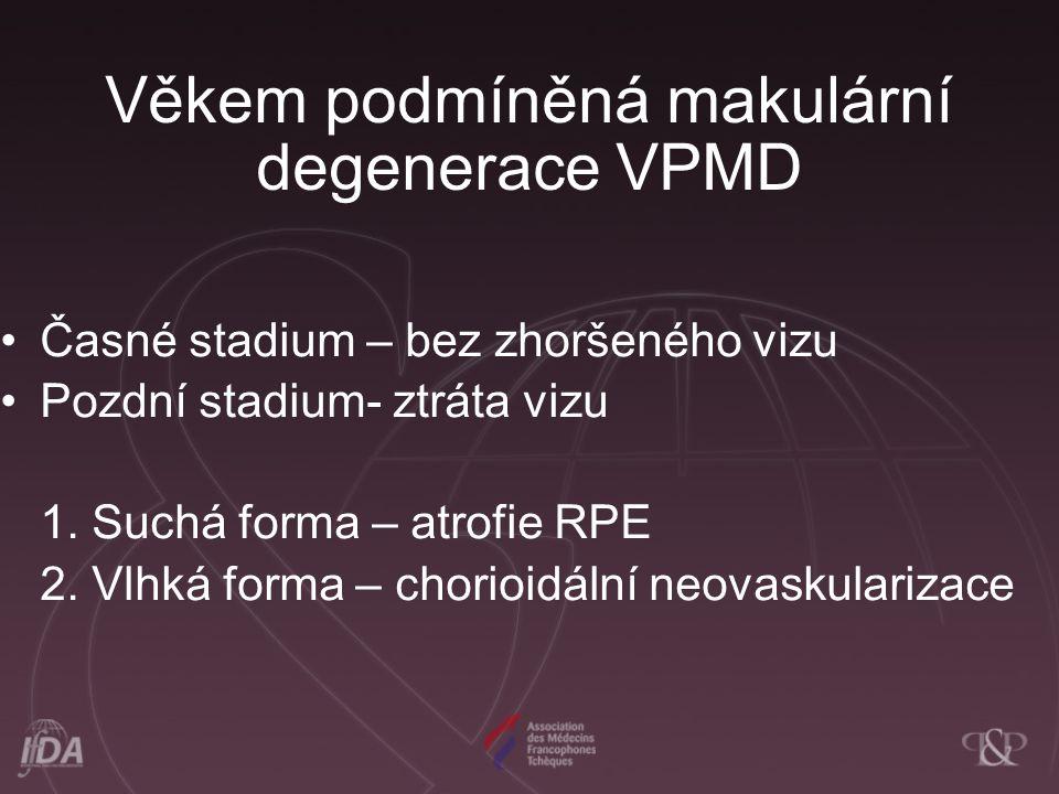 Věkem podmíněná makulární degenerace VPMD Časné stadium – bez zhoršeného vizu Pozdní stadium- ztráta vizu 1. Suchá forma – atrofie RPE 2. Vlhká forma