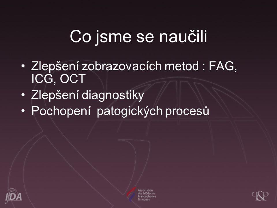 Co jsme se naučili Zlepšení zobrazovacích metod : FAG, ICG, OCT Zlepšení diagnostiky Pochopení patogických procesů
