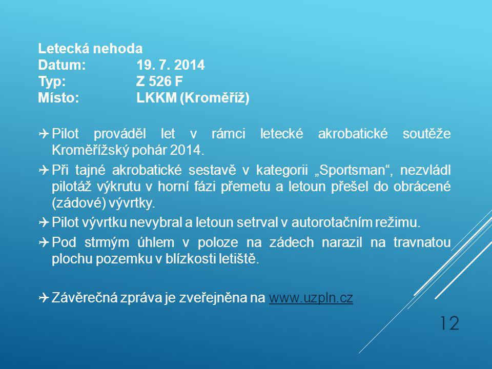 Letecká nehoda Datum:19. 7. 2014 Typ:Z 526 F Místo:LKKM (Kroměříž)  Pilot prováděl let v rámci letecké akrobatické soutěže Kroměřížský pohár 2014. 