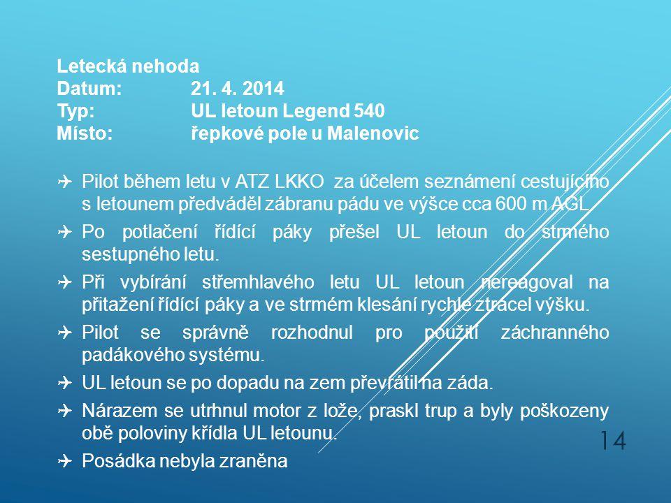 14 Letecká nehoda Datum:21. 4. 2014 Typ:UL letoun Legend 540 Místo:řepkové pole u Malenovic  Pilot během letu v ATZ LKKO za účelem seznámení cestujíc