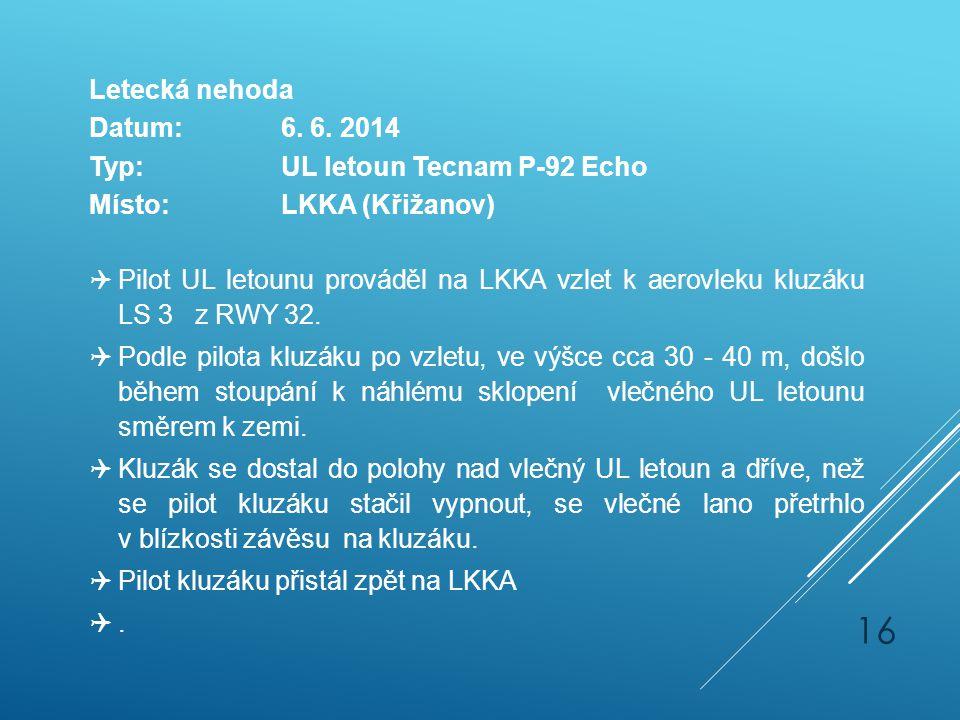 Letecká nehoda Datum:6. 6. 2014 Typ:UL letoun Tecnam P-92 Echo Místo:LKKA (Křižanov)  Pilot UL letounu prováděl na LKKA vzlet k aerovleku kluzáku LS