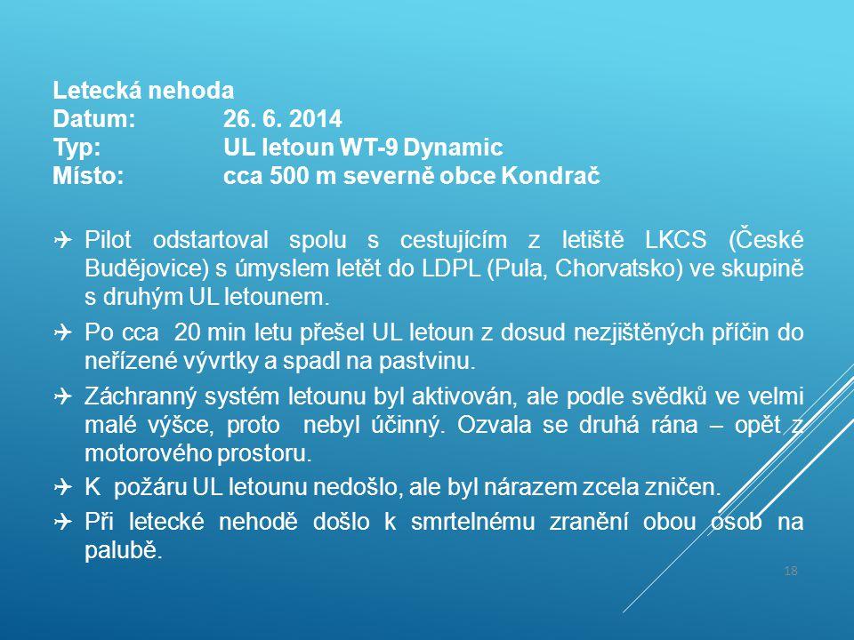 Letecká nehoda Datum:26. 6. 2014 Typ:UL letoun WT-9 Dynamic Místo:cca 500 m severně obce Kondrač  Pilot odstartoval spolu s cestujícím z letiště LKCS