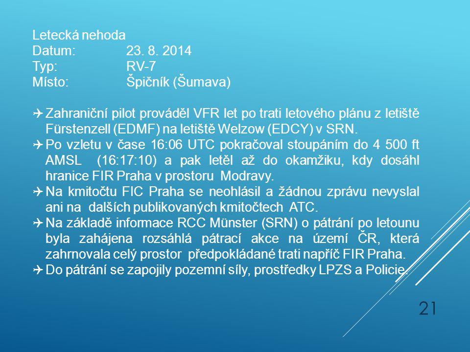 Letecká nehoda Datum:23. 8. 2014 Typ:RV-7 Místo:Špičník (Šumava)  Zahraniční pilot prováděl VFR let po trati letového plánu z letiště Fürstenzell (ED