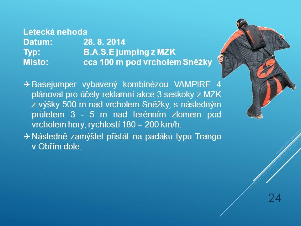Letecká nehoda Datum:28. 8. 2014 Typ:B.A.S.E jumping z MZK Místo:cca 100 m pod vrcholem Sněžky  Basejumper vybavený kombinézou VAMPIRE 4 plánoval pro