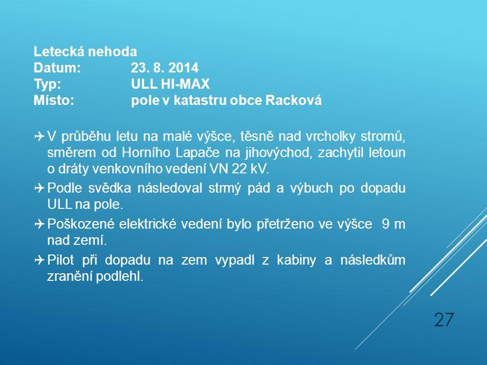 Letecká nehoda Datum:23. 8. 2014 Typ:ULL HI-MAX Místo:pole v katastru obce Racková  V průběhu letu na malé výšce, těsně nad vrcholky stromů, směrem o