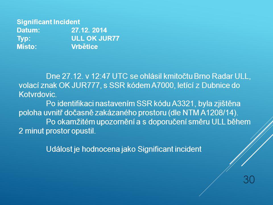 Dne 27.12. v 12:47 UTC se ohlásil kmitočtu Brno Radar ULL, volací znak OK JUR777, s SSR kódem A7000, letící z Dubnice do Kotvrdovic. Po identifikaci n