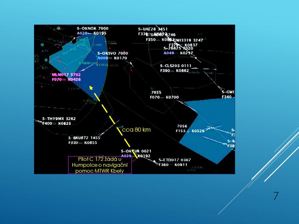 Incident C 172 - pokračování Pilot C 172 žádá u Humpolce o navigační pomoc MTWR Kbely cca 80 km 7