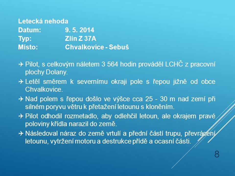 Letecká nehoda Datum:9. 5. 2014 Typ:Zlín Z 37A Místo:Chvalkovice - Sebuš  Pilot, s celkovým náletem 3 564 hodin prováděl LCHČ z pracovní plochy Dolan