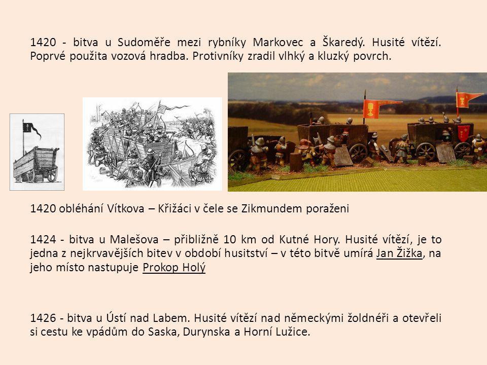 Zápis Husitství a husitské vály Symbol - kalich Husité = (kališníci) 1419 první pražská defenestrace (Jan Želivský) 1420 založen Tábor 1420 bitva na hoře Vítkov 1421 bitva u Sudoměře ( vítězství - Jan Žižka z Trocnova) 1421 sněm v Čáslavi – čtyři artikuly pražské 1) 2) 3) 4) 1424 bitva u Malešova- umírá Žižka 1426 bitva u Ústí n/L – v čele Prokop Holý 1431 bitva u Domažlic 1432-33 jednání v Basileji = BASILEJSKÁ KOMPAKTÁTA = smír Husitů a katolíků 30.5.