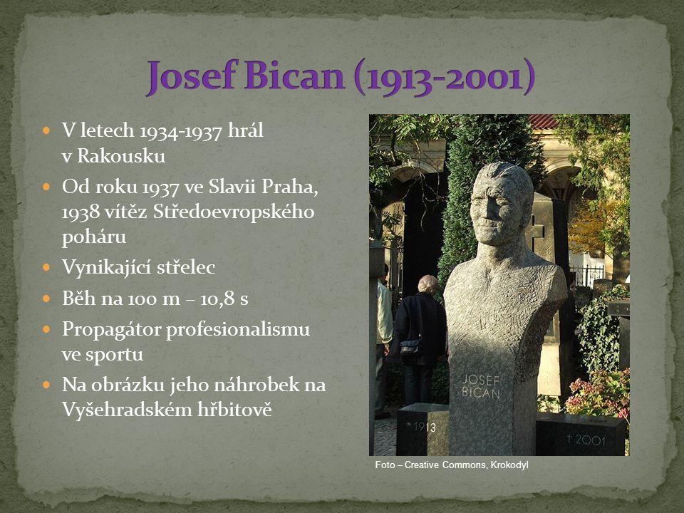 V letech 1934-1937 hrál v Rakousku Od roku 1937 ve Slavii Praha, 1938 vítěz Středoevropského poháru Vynikající střelec Běh na 100 m – 10,8 s Propagátor profesionalismu ve sportu Na obrázku jeho náhrobek na Vyšehradském hřbitově Foto – Creative Commons, Krokodyl