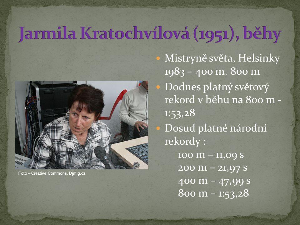 Mistryně světa, Helsinky 1983 – 400 m, 800 m Dodnes platný světový rekord v běhu na 800 m - 1:53,28 Dosud platné národní rekordy : 100 m – 11,09 s 200 m – 21,97 s 400 m – 47,99 s 800 m – 1:53,28 Foto – Creative Commons, Djmig.cz
