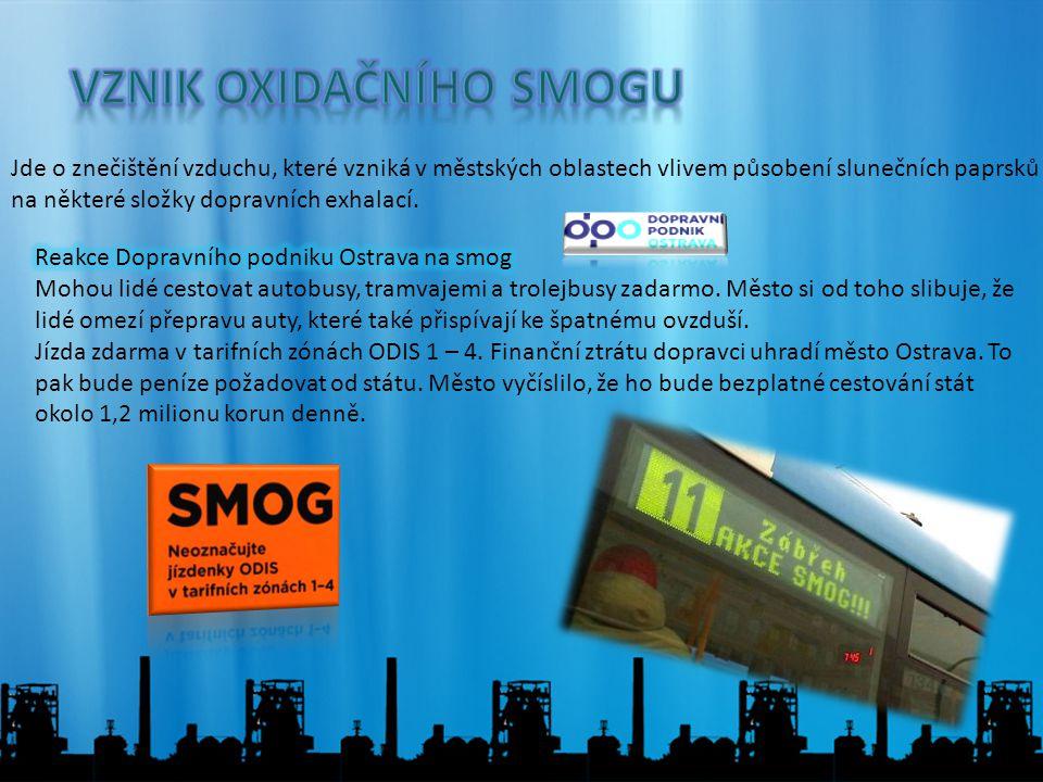 Jde o znečištění vzduchu, které vzniká v městských oblastech vlivem působení slunečních paprsků na některé složky dopravních exhalací.
