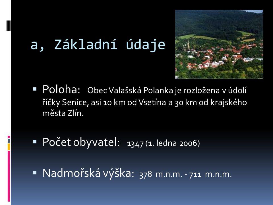 a, Základní údaje  Poloha: Obec Valašská Polanka je rozložena v údolí říčky Senice, asi 10 km od Vsetína a 30 km od krajského města Zlín.