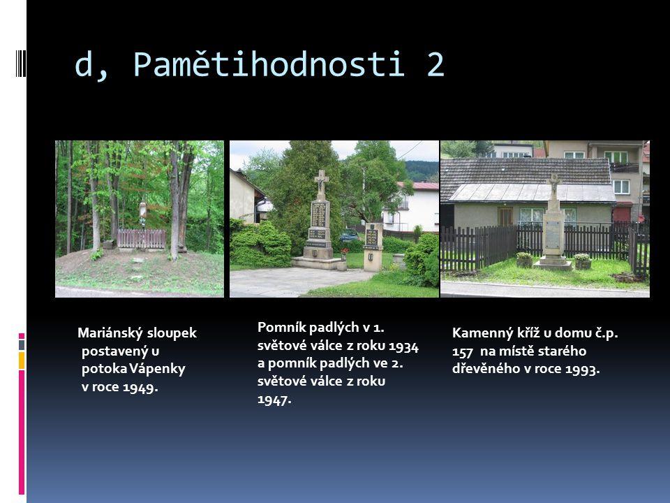 d, Pamětihodnosti 2 Mariánský sloupek postavený u potoka Vápenky v roce 1949.