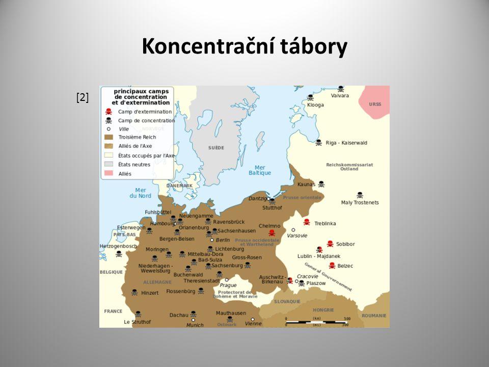 """Pracovní koncentrační tábory mezi nejvýznamnější pracovní koncentrační tábory patřily : Mauthausen, Dachau, Buchenwald, Sachsenhausen, Ravensbrück, Flossenbürg, Majdanek, Bergen – Belsen, Neuengamme, Gross – Rosen, Stutthof Mauthausen – Gusen - rakouský koncentrační tábor nedaleko Lince – (1938 – 1945) velitelem tábora Carl Ziereis ( na konci války postřelen na útěku, zemřel ) vězni ničeni prací - 12 až 20 hodin práce v kamenolomu po """"schodech smrti (168 m ) vynášeli těžké kameny oblíbená zábava nacistů - shazování vězňů ze skály do jezírka – tzv."""