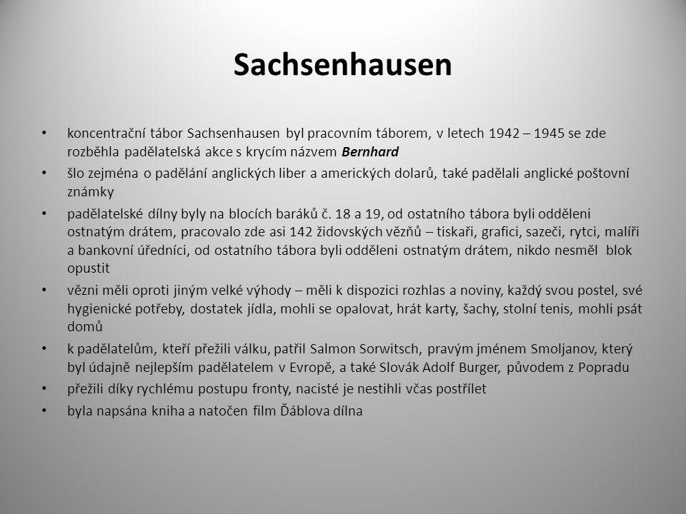 Sachsenhausen koncentrační tábor Sachsenhausen byl pracovním táborem, v letech 1942 – 1945 se zde rozběhla padělatelská akce s krycím názvem Bernhard