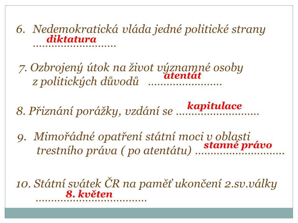 6.Nedemokratická vláda jedné politické strany ……………………… diktatura 7.