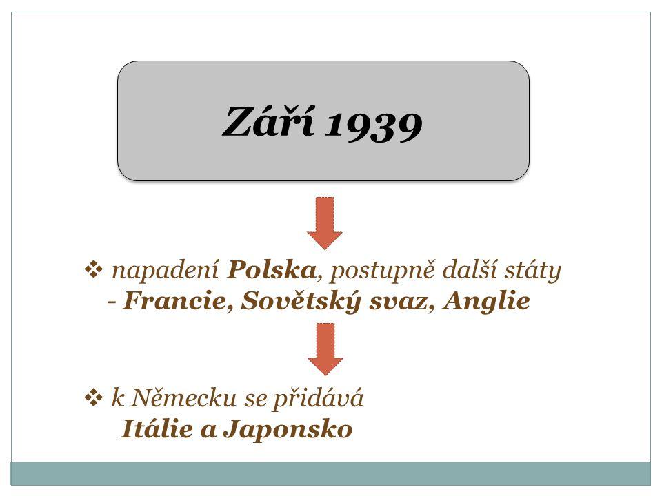 Září 1939  napadení Polska, postupně další státy - Francie, Sovětský svaz, Anglie  k Německu se přidává Itálie a Japonsko