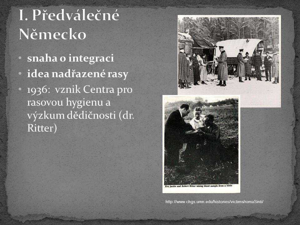 snaha o integraci idea nadřazené rasy 1936: vznik Centra pro rasovou hygienu a výzkum dědičnosti (dr.