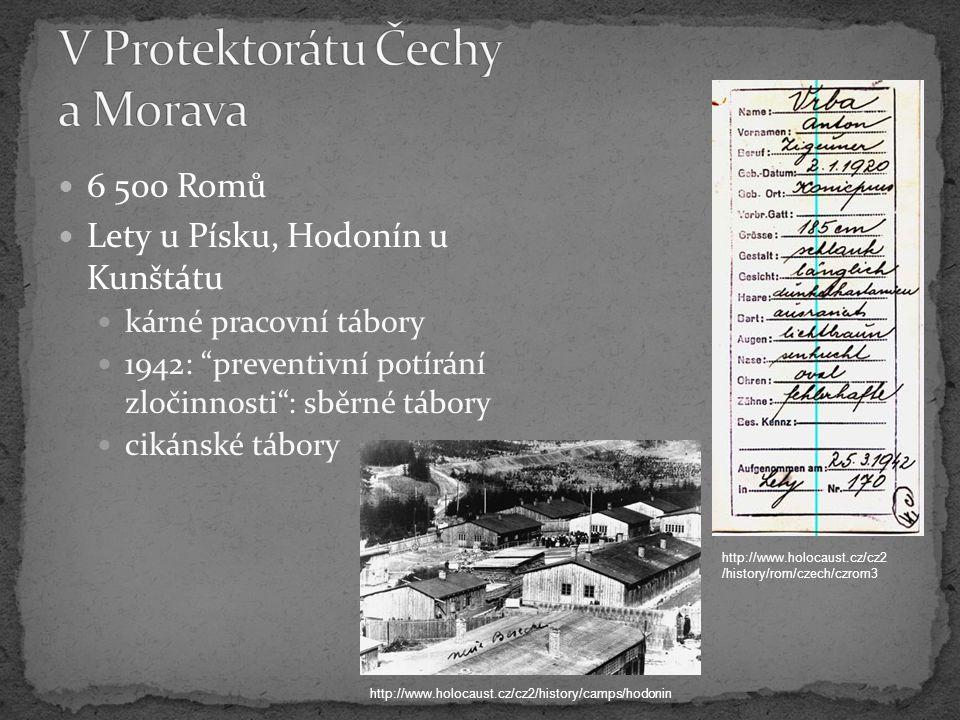 6 500 Romů Lety u Písku, Hodonín u Kunštátu kárné pracovní tábory 1942: preventivní potírání zločinnosti : sběrné tábory cikánské tábory http://www.holocaust.cz/cz2/history/camps/hodonin http://www.holocaust.cz/cz2 /history/rom/czech/czrom3