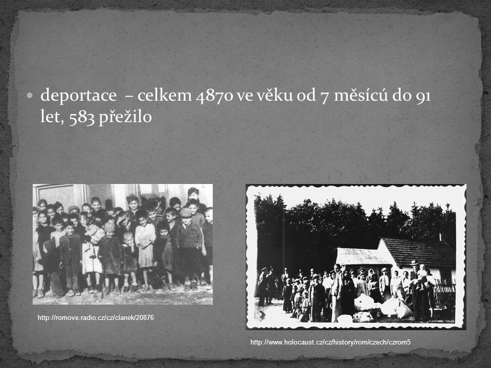 deportace – celkem 4870 ve věku od 7 měsícú do 91 let, 583 přežilo http://romove.radio.cz/cz/clanek/20876 http://www.holocaust.cz/cz/history/rom/czech
