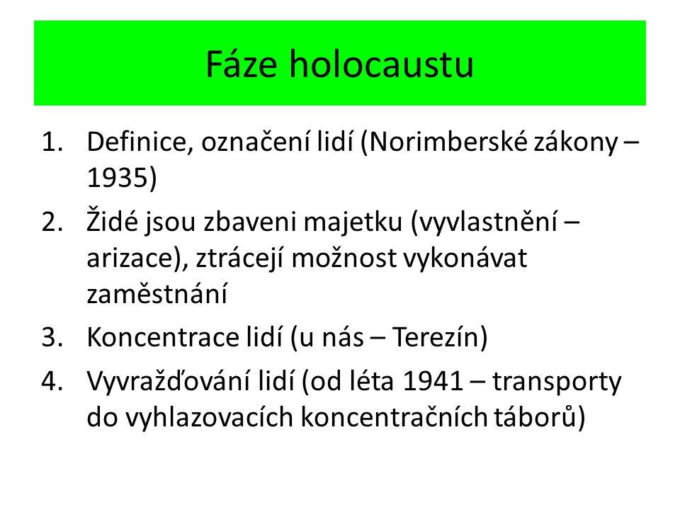 Fáze holocaustu 1.Definice, označení lidí (Norimberské zákony – 1935) 2.Židé jsou zbaveni majetku (vyvlastnění – arizace), ztrácejí možnost vykonávat zaměstnání 3.Koncentrace lidí (u nás – Terezín) 4.Vyvražďování lidí (od léta 1941 – transporty do vyhlazovacích koncentračních táborů)