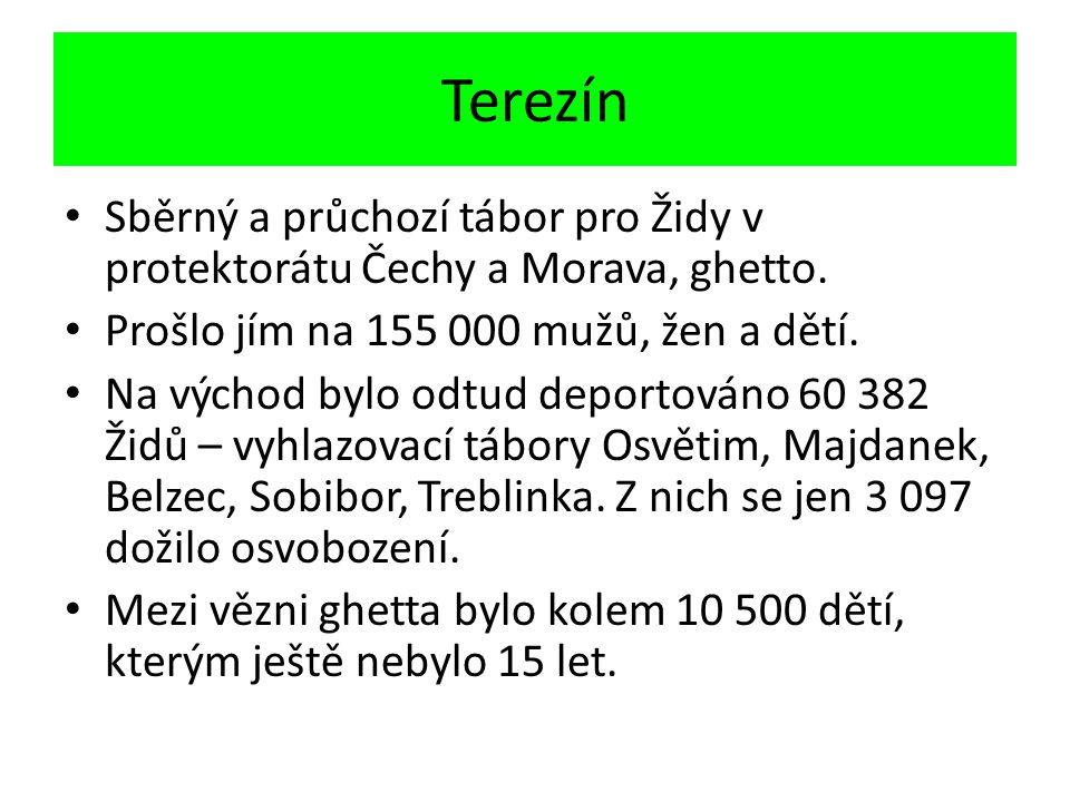 Terezín Sběrný a průchozí tábor pro Židy v protektorátu Čechy a Morava, ghetto.
