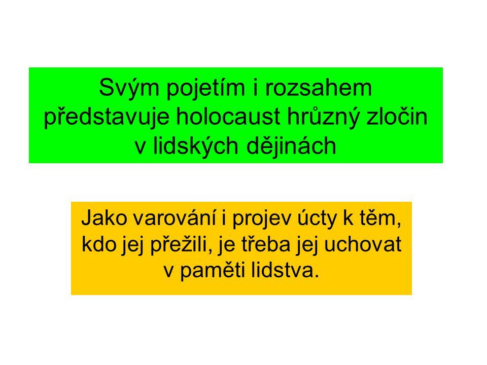 Svým pojetím i rozsahem představuje holocaust hrůzný zločin v lidských dějinách Jako varování i projev úcty k těm, kdo jej přežili, je třeba jej uchovat v paměti lidstva.