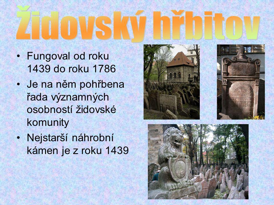 Fungoval od roku 1439 do roku 1786 Je na něm pohřbena řada významných osobností židovské komunity Nejstarší náhrobní kámen je z roku 1439