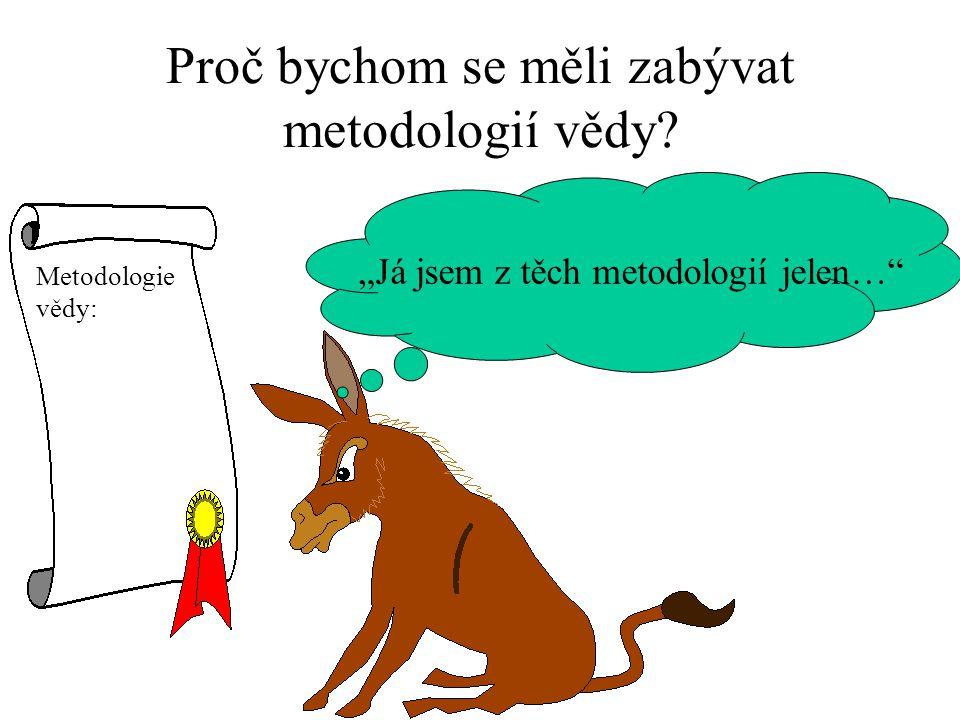"""Proč bychom se měli zabývat metodologií vědy? """"Já jsem z těch metodologií jelen… Metodologie vědy:"""