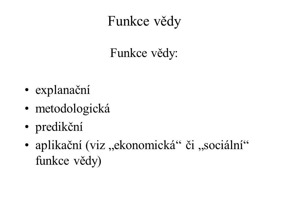 """Funkce vědy Funkce vědy: explanační metodologická predikční aplikační (viz """"ekonomická či """"sociální funkce vědy)"""