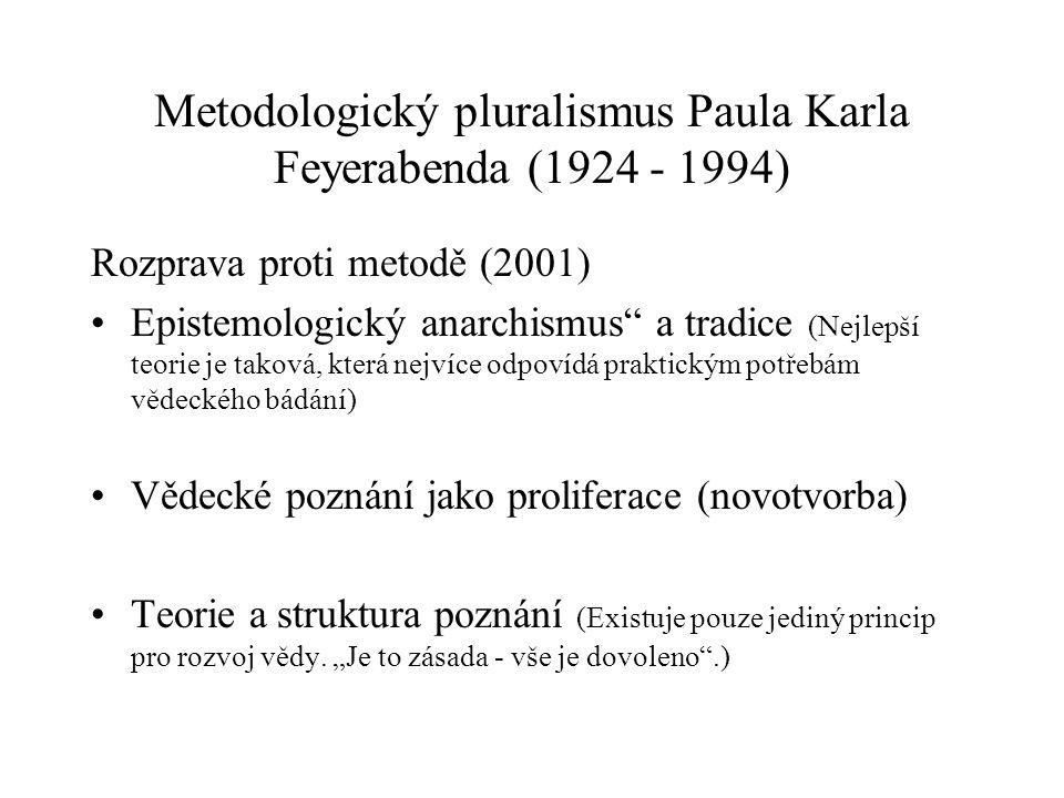 Metodologický pluralismus Paula Karla Feyerabenda (1924 - 1994) Rozprava proti metodě (2001) Epistemologický anarchismus a tradice (Nejlepší teorie je taková, která nejvíce odpovídá praktickým potřebám vědeckého bádání) Vědecké poznání jako proliferace (novotvorba) Teorie a struktura poznání (Existuje pouze jediný princip pro rozvoj vědy.
