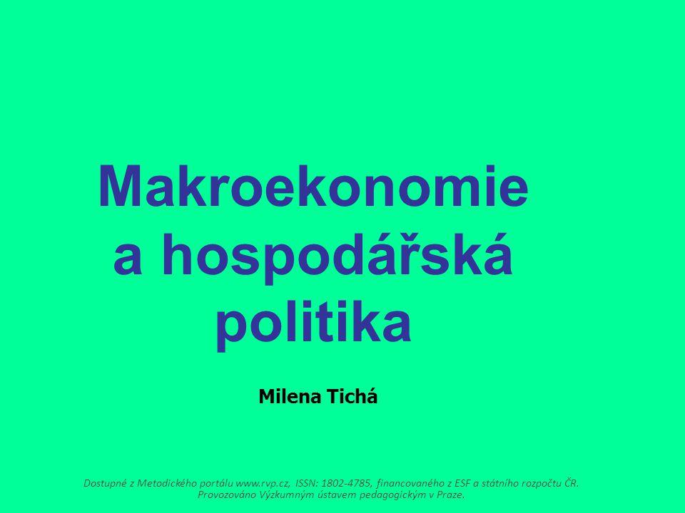 Makroekonomie a hospodářská politika Milena Tichá Dostupné z Metodického portálu www.rvp.cz, ISSN: 1802-4785, financovaného z ESF a státního rozpočtu ČR.